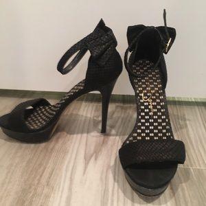 Jessica Simpson Snakeskin Bow Ankle Strap Heel